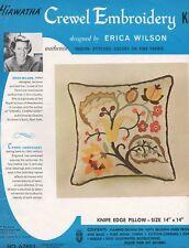 Erica Wilson Crewel Embroidery Hiawatha Kit 6769/1 linen Knife Edge Pillow 14x14