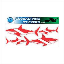 4 Sharks Sticker Pack as Dive Flag Scuba Diver Decal 200-153