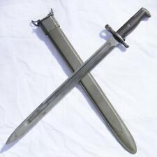 "WW2 era US RIA M1905 16"" blade 1917 bayonet rare BROWN GRIPS type, orig scabbard"