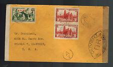 1945 Abidjan  Ivory Coast Airmail Censored cover to USA