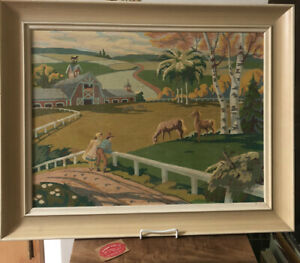 """Vintage 23"""" x 29"""" Framed Paint By Number Red Barn Weather Vane Horses Couple"""