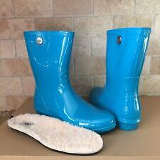 UGG SIENNA ENAMEL BLUE SHORT RUBBER RAIN BOOTS FUR INSOLE SIZE US 10 WOMENS