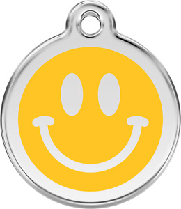 Stainless Steel Red Dingo Smiley Face ID Collar Charm Dog Tag Small Medium Large