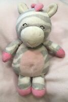 "8"" Carter's Zebra Plush Stuffed Animal Pink Gray 2015 Lovey Soft Baby Toy"