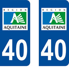 Département 40 sticker 2 autocollants style immatriculation AUTO PLAQUE