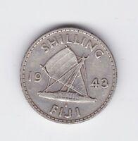 1943 FIJI ONE SHILLING GEORGE VI SILVER COIN C-443