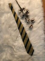 Burberry London Tie Yellow Navy Sage Stripe 100% Silk