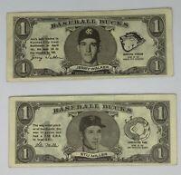 1962 Topps Baseball Bucks, Lot of 2, Jerry Walker, Stu Miller