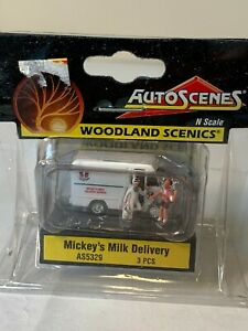 Woodland Scenics AS5329 N Mickey's Milk Deliver Trailer Train Figure / Vehicl...