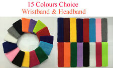 15 Colours Sports Sweatbands Wristband Headband Tennis Squash Badminton GYM Yoga