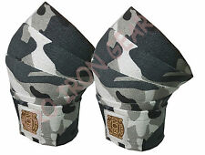 CAMOUFLAGE WEIGHT LIFTING KNEE WRAPS GYM TRAINING SUPPORT BANDAGES STRAPS