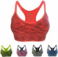 Women Yoga Fitness Workout Tank Top Racerback Stretch Padded Sports Bra LOT