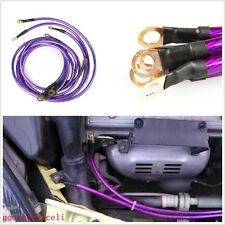5 Pcs Purple Car High Performance Power Polarity Earth Grounding Cable Wire Kits