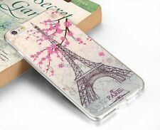Pink Flower Paris Eiffel Tower Soft Case Skin Back Cover for Apple iPhone 6 Plus