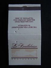LA BOUILLABAISSE RESTAURANT THE BEST FISH IN AUSTRALIA MALVERN 203685 MATCHBOOK