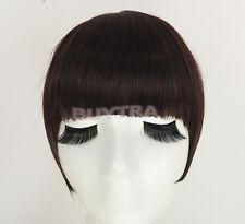 Terrific Fringe Clip In On Bangs Straight Hair brown black faux hair YL