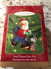 Hallmark Stroll Round The Pole Santa & Dog Ornament New 2000 NIB