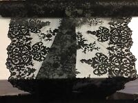 Black Embroidered Lace Fabric On A 2 Way Stretch - Wedding Dress - By The Yard
