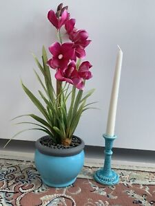 """New Vintage Turquoise Blue 5.2"""" Tall Pair Of Candlestick Holders Handmade"""