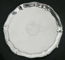 More details for antique sterling silver salver, crested, richard rugg i, london 1774