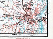 Straßburg Strasbourg 1921 kl. orig. Eisenbahnkarte Kehl Bischheim Schiltigheim
