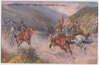 c1914 colour Military PPC 'Austrian, Hungarian & Bulgarian patrols meeting'  ST6