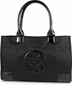 TORY BURCH Ella Mini Tote #BLACK Travel Casual Bag Nylon Leather Handbag Authent