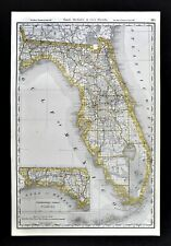 1892 Rand McNally Railroad Map Florida Miami Jacksonville Tallahassee Tampa RR
