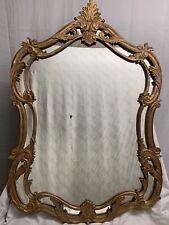 Antique Vintage large Ornate Wood Gold Gilt Mirror