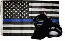 Wholesale Combo 3x5 Police Usa Memorial Flag & Police Texas Black Hat Cap