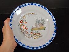 Assiette faïence Charolle XIX° décor BERGER, pas signée, D - 22,5 cm