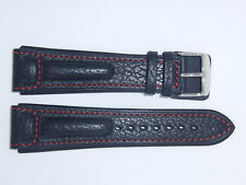 "RIOS1931 Genuine Buffalo Leather Watch Band Strap 22 mm Black ""Advantage"""