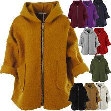 Womens Italian Texture Knit Wool Gold Zip Ladies Hooded Coatigan Cardigan Coat