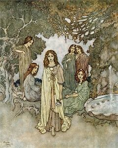 Ok Art print by Dulac The garden of paradise Decor wall hangings 10x8