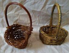 (2) Small/Mini Craft/Display Wicker Baskets w. Handles-Bronze/Brown-6