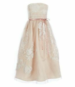 NEW $80 CHANTILLY PLACE BIG GIRLS 7-16 STRAPLESS PLEATED TULLE DRESS-TAUPE-10