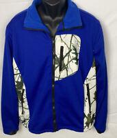 TRAIL CREST Men's Blue & Camo Jacket Size Medium Zip Pockets Toggles Full Zip
