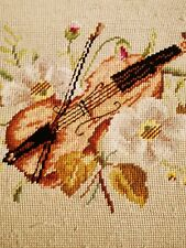 """BEST Antique Solid Mahogany Needlepoint TAPESTRY Window Piano Bench 23"""" ❤️m13"""