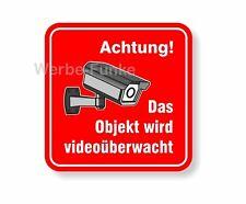 """5 Aufkleber """" Das Objekt wird videoüberwacht """" 50 x 50 mm, Kameraüberwachung"""