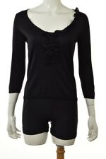 Etro Womens Top Size 40 Black Solid Knit Shirt Blouse Sweater 3/4 Sleeve Silk