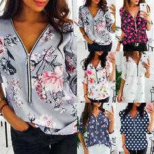 Womens Long Sleeve V Neck Tunic Tops Zipper Blouse T-Shirt Pullover Plus Size