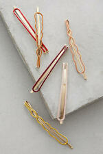 New Anthropologie Orava Hair Clip Set of 6 Red/Mustard/Pink/Yellow/Burgundy