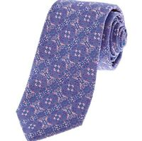 NEW MEN'S LILAC FLORAL  SILK FANCY WOVEN TIE BY TED BAKER