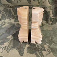 "Quartz 5.5"" Tall  Bookends Onyx Marble Primitive Warrior Pair Mexico"