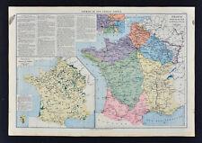 1885 Drioux Map - France Railroads  Canals & Forest Paris Tours Nice Bordeaux FR
