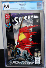 Superman #75 Second Print Death of Superman CGC NM 9.4 White Pages 3800790011