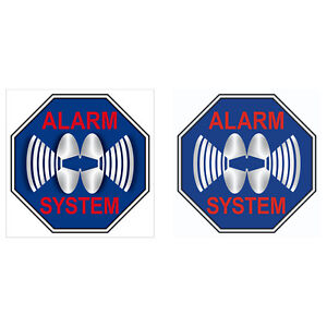 Set Alarm System Aufkleber 5cm blau Sticker Innen kleben beide Seiten lesbar