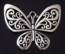 2 Large Tibetan Silver Butterfly Charms Pendants (TSC78)