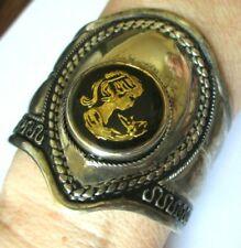 Superbe unique bracelet manchette argenté camée noir et or bijou vintage