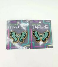 """New 2pc Wooden Craft Jewelry Bead Butterfly w/ heart Graphic, Teal 2x1"""" Set"""